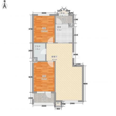 易和岭秀滨城2室1厅1卫1厨77.00㎡户型图