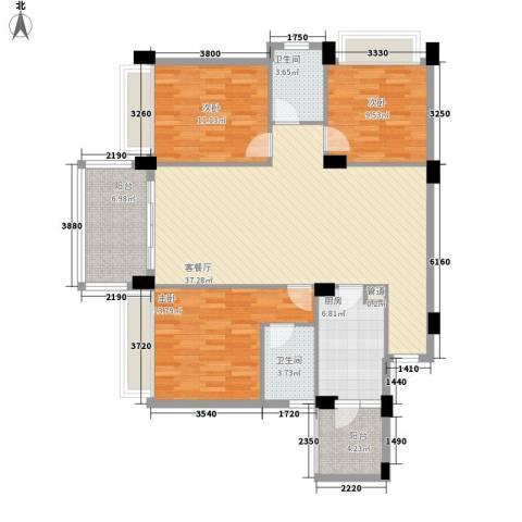 景湖春天3室1厅2卫1厨163.00㎡户型图