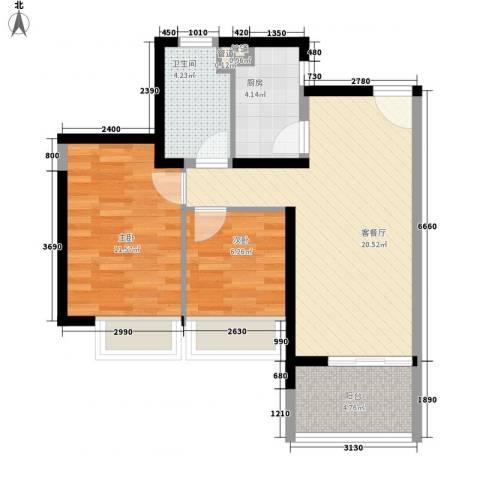 世纪明园2室1厅1卫1厨73.00㎡户型图
