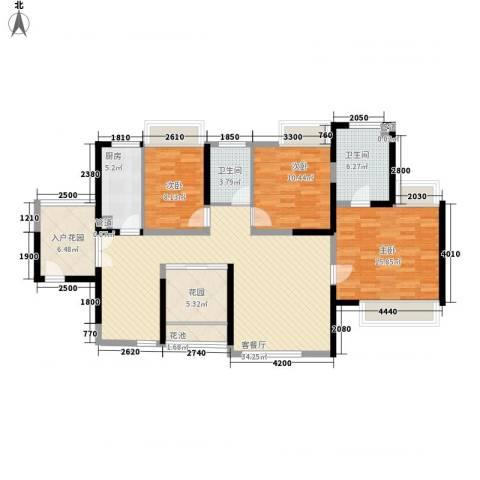 世纪明园3室1厅2卫1厨123.00㎡户型图