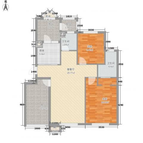 易和岭秀滨城2室1厅2卫1厨120.00㎡户型图
