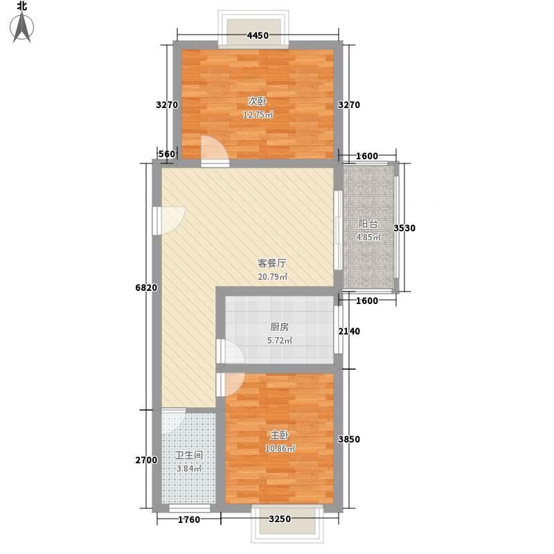 浪琴湖湾84.60㎡2#楼F户型2室2厅1卫1厨