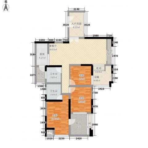 世纪明园3室1厅2卫1厨112.00㎡户型图