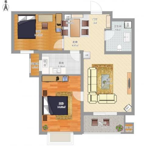 枫林花溪2室1厅1卫1厨102.00㎡户型图