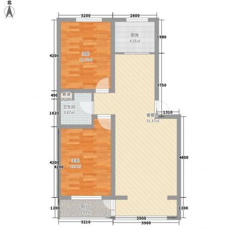 怡景名苑2室1厅1卫1厨83.00㎡户型图