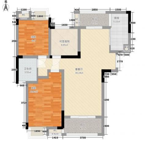 麒川时代广场2室1厅1卫1厨113.00㎡户型图