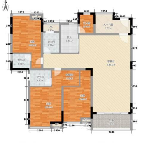 湖景壹号庄园别墅3室1厅3卫1厨164.18㎡户型图