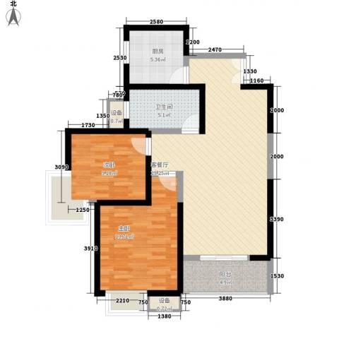 世融嘉城2室1厅1卫1厨100.00㎡户型图