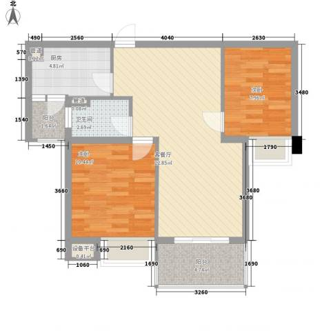马景园2室1厅1卫1厨80.00㎡户型图