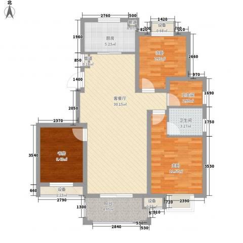 晟地润园3室1厅2卫1厨112.00㎡户型图