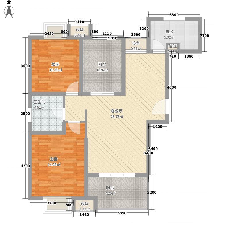 晟地润园101.00㎡G1户型2室2厅1卫1厨