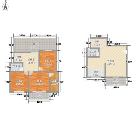 古镇庭苑1室1厅2卫0厨140.43㎡户型图