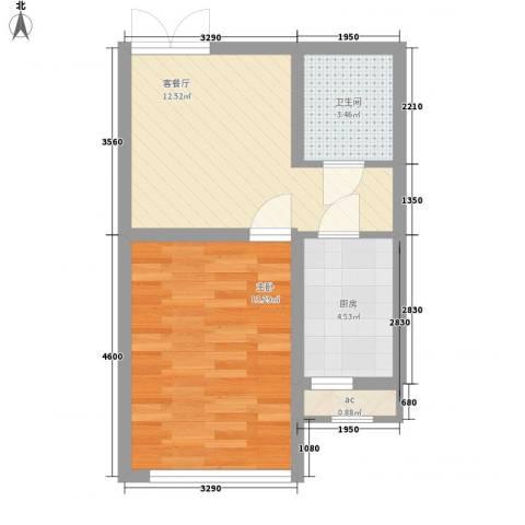 佳泰帝景城1室1厅1卫1厨51.00㎡户型图