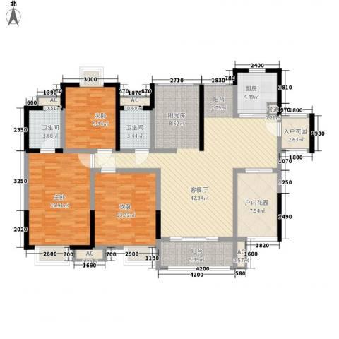 世纪城幸福公馆3室1厅2卫1厨129.00㎡户型图