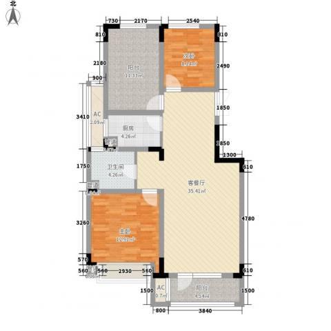 复地哥德堡森林三期墅香洋房2室1厅1卫1厨103.00㎡户型图