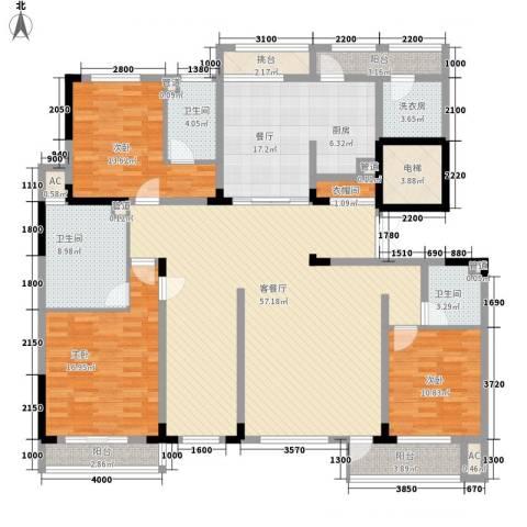 复地哥德堡森林三期墅香洋房3室2厅3卫0厨168.00㎡户型图