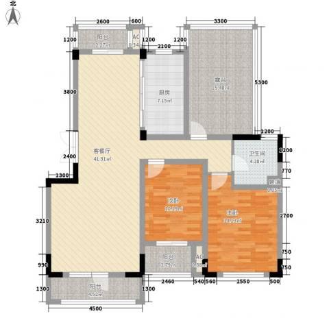 复地哥德堡森林三期墅香洋房2室1厅1卫1厨102.89㎡户型图