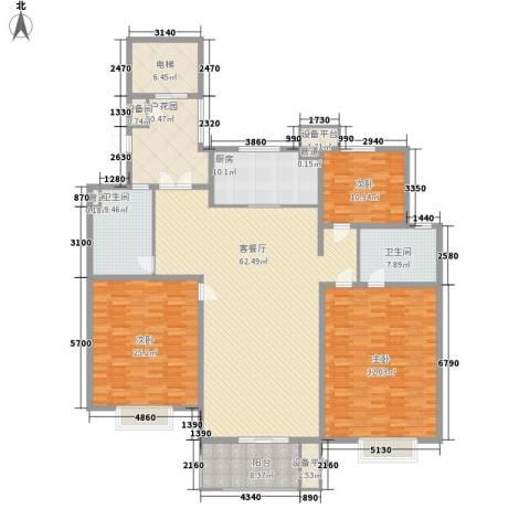 银泰花园3室1厅2卫1厨260.00㎡户型图