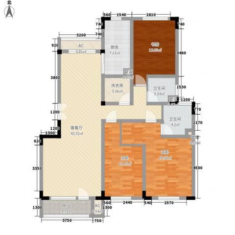 复地哥德堡森林三期墅香洋房3室1厅2卫1厨139.00㎡户型图