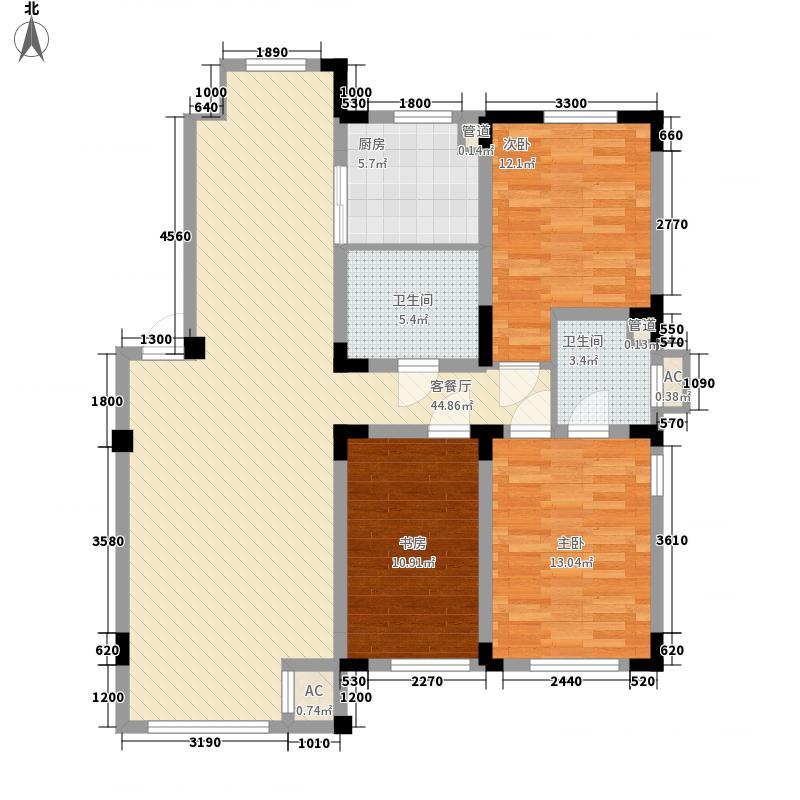 金越逸墅蓝湾别墅124.38㎡76#2/3/4层A1户型3室2厅2卫
