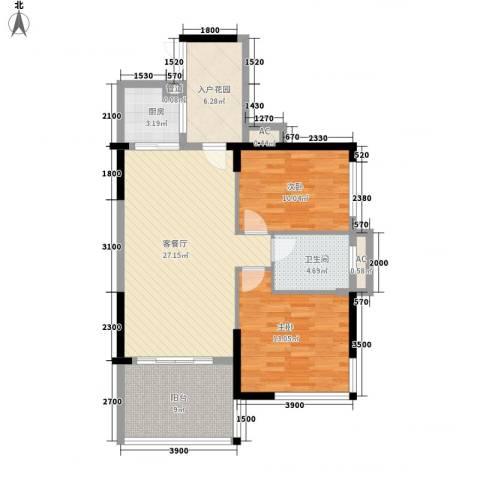 欧风花园2室1厅1卫1厨96.00㎡户型图