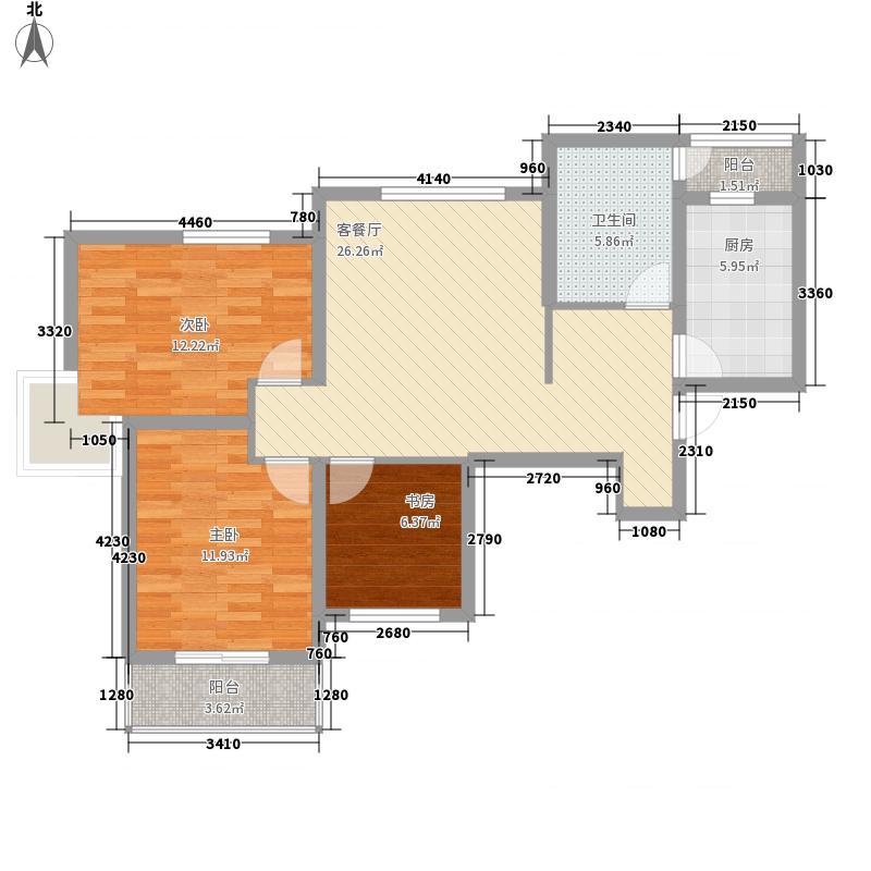 珠江荣景16.37㎡户型3室2厅1卫