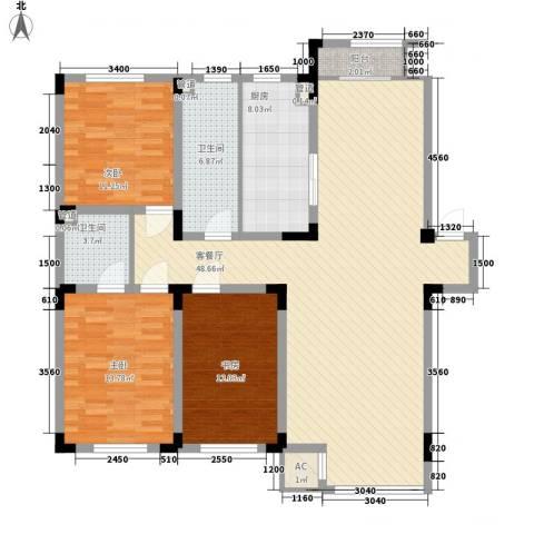 金越逸墅蓝湾别墅3室1厅2卫1厨137.00㎡户型图