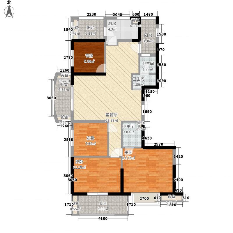 汇诚佳源居145.23㎡1#04、2#01单元户型4室2厅2卫1厨