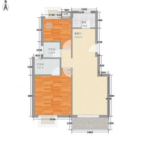 一汽51街区2室1厅2卫1厨76.00㎡户型图