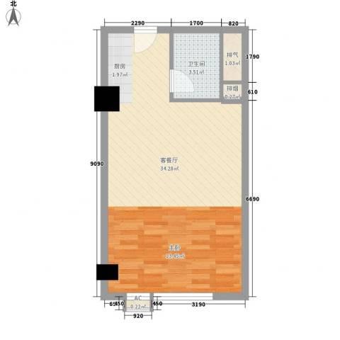 沙发公寓1厅1卫0厨58.00㎡户型图