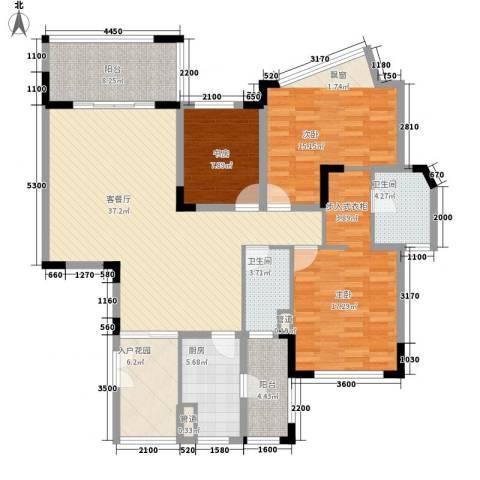 仁恒星园3室1厅2卫1厨144.00㎡户型图