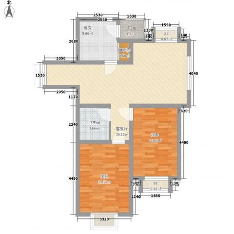 佳泰帝景城2室1厅1卫1厨94.00㎡户型图