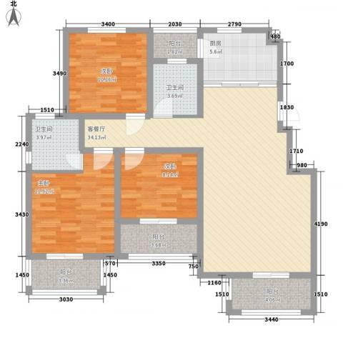 江都恒通帝景蓝湾3室1厅2卫1厨133.00㎡户型图