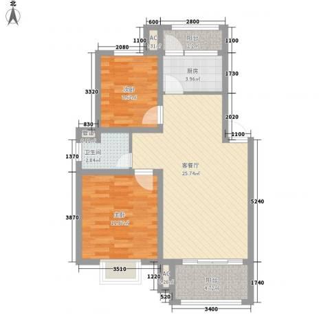 南苑小区2室1厅1卫1厨88.00㎡户型图
