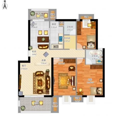 金嘉名筑3室1厅2卫1厨136.00㎡户型图