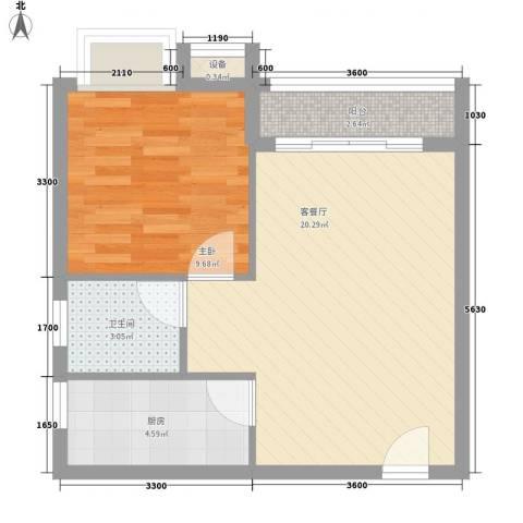 海南大溪地住宅小区1室1厅1卫1厨58.00㎡户型图