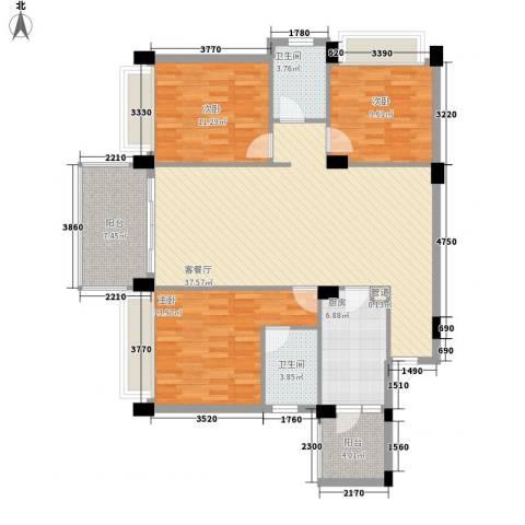 景湖春天3室1厅2卫1厨137.00㎡户型图