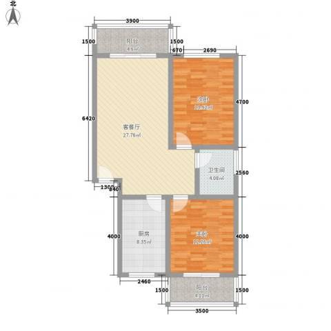 古镇庭苑2室1厅1卫1厨85.00㎡户型图