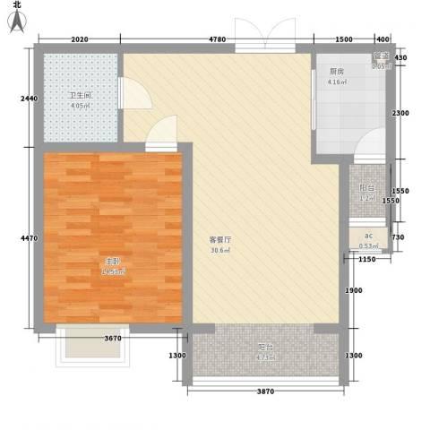佳泰帝景城1室1厅1卫1厨78.00㎡户型图