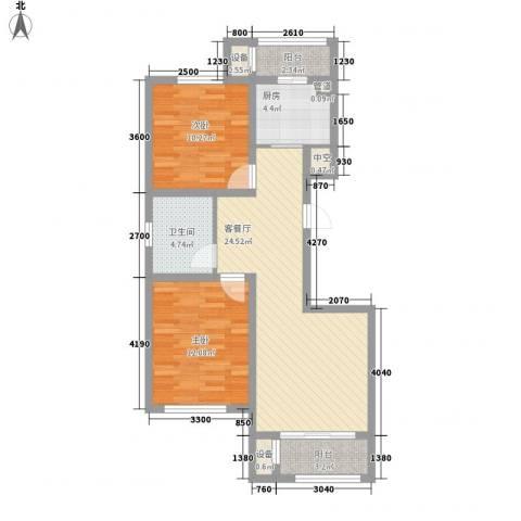 丽景园2室1厅1卫1厨74.77㎡户型图