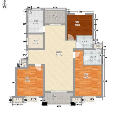 晟地润园3室1厅2卫1厨128.00㎡户型图