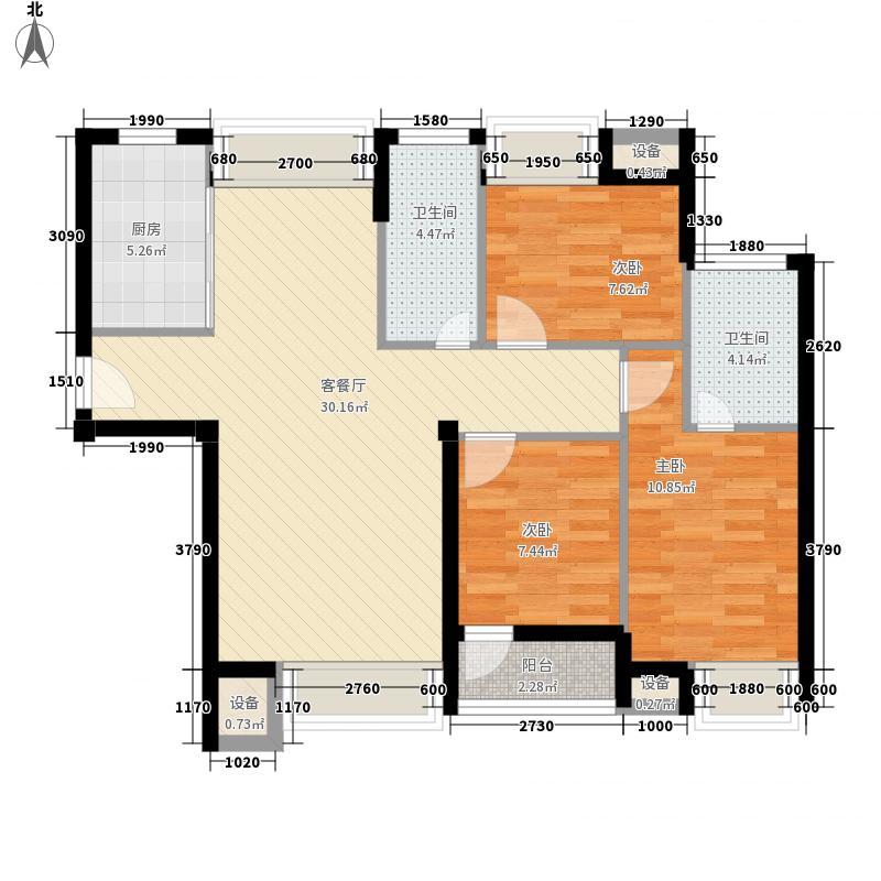 威达金色年华126.33㎡D1户型3室2厅2卫