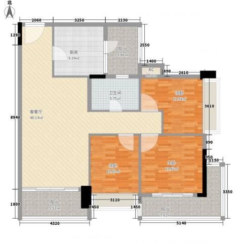 阳光海岸宽寓3室1厅1卫1厨157.00㎡户型图
