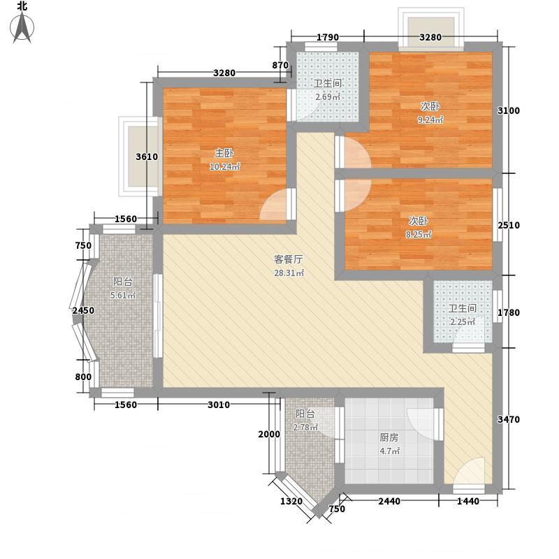 颐和雅居110.69㎡2号楼F户型3室2厅2卫1厨