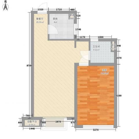 开元九龙湖畔1室1厅1卫1厨48.08㎡户型图