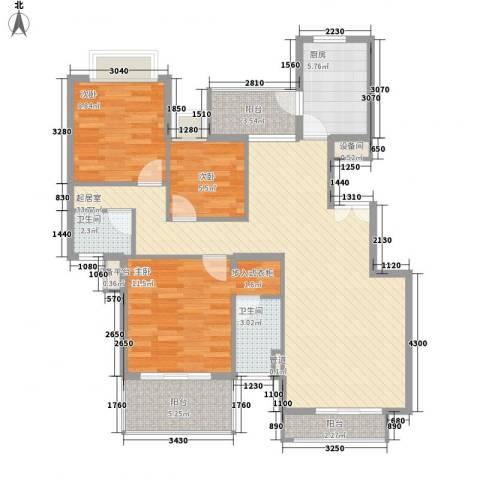恒大雅苑3室0厅2卫1厨120.00㎡户型图