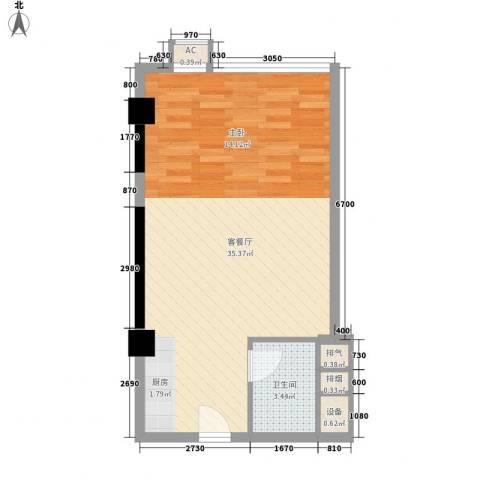 沙发公寓1厅1卫0厨59.00㎡户型图