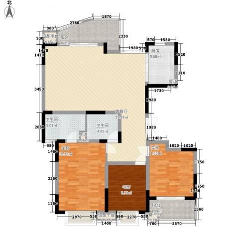 江海皇都3室1厅2卫1厨138.00㎡户型图