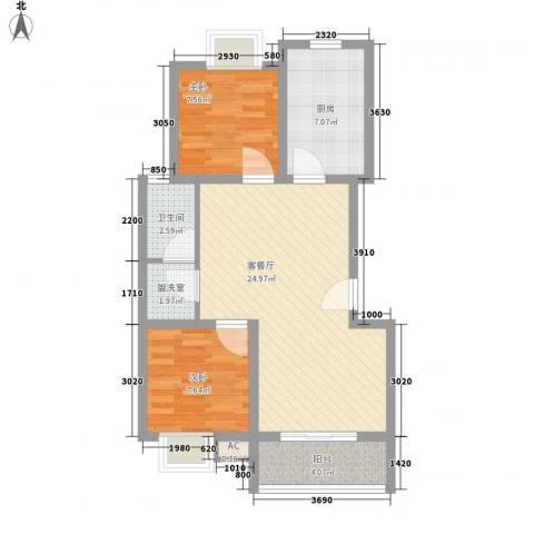 阳光四季园2室1厅1卫1厨82.00㎡户型图