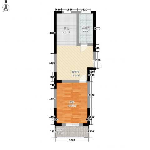 盛鑫金桥世家1室1厅1卫0厨57.00㎡户型图